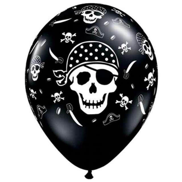 "Balony 11"", ""Piraci"", pastel black, QUALATEX, 6 szt"