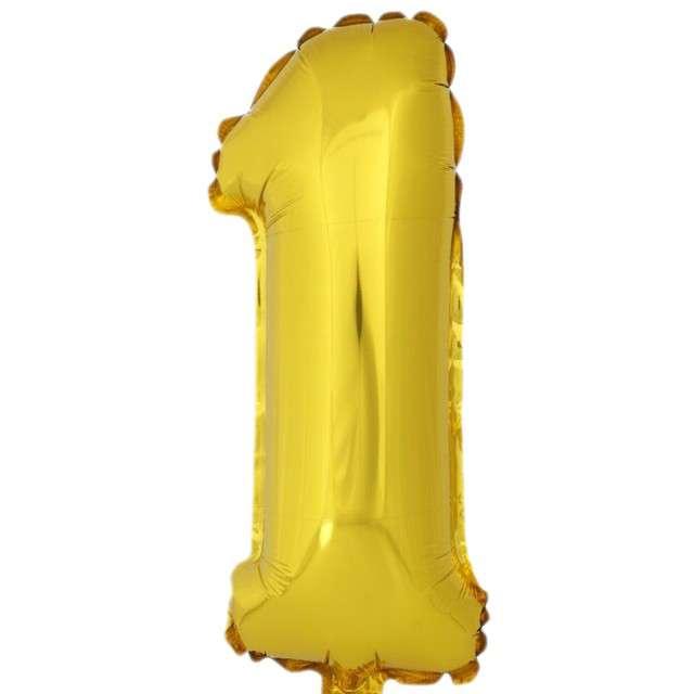 """Balon foliowy cyfra 1, 16"""", OEM, złoty"""