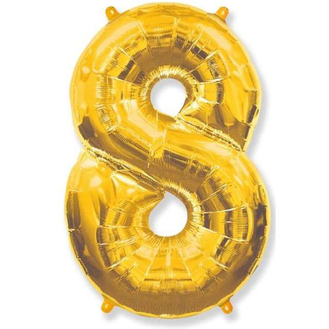 """Balon foliowy cyfra 8, złoty, FLEXMETAL, 40"""""""