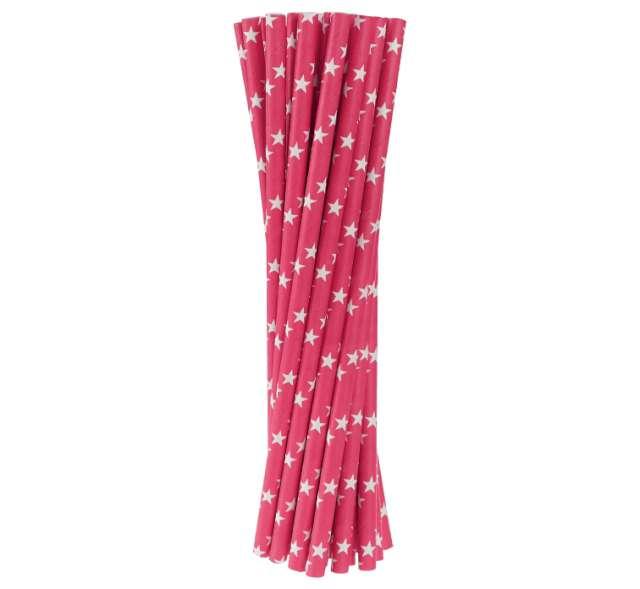 Słomki papierowe w gwiazdki, różowe ciemne, 20 cm, 24 szt