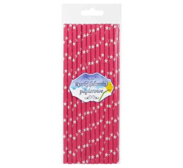 Słomki papierowe w gwiazdki różowe ciemne 20 cm 24 szt