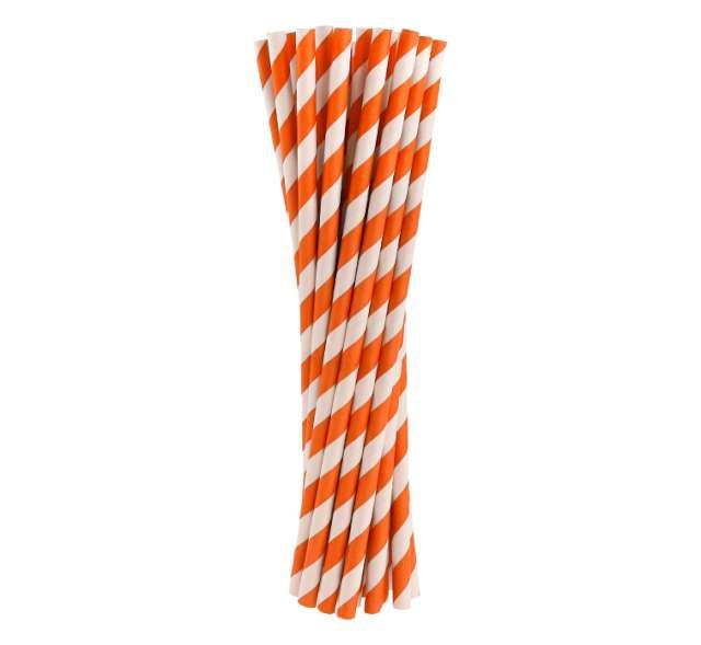 Słomki papierowe w paski, pomarańczowe, 19,7 cm, 24 szt