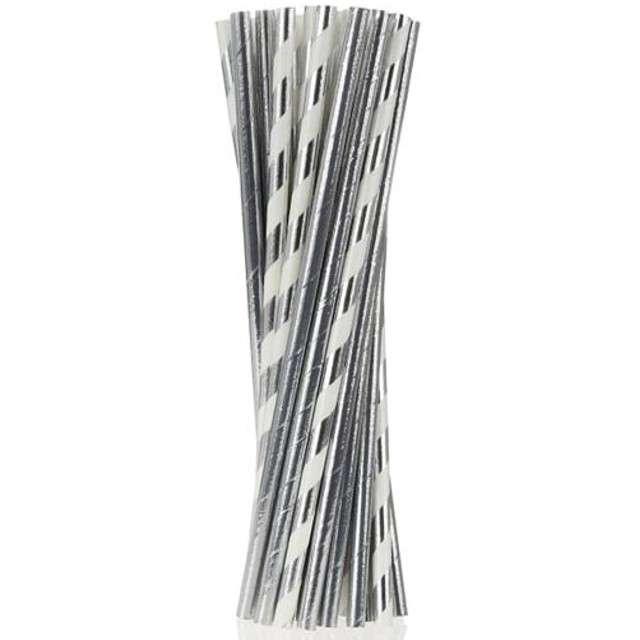 Słomki papierowe mix, srebrne chrom, 19,7 cm, 24 szt