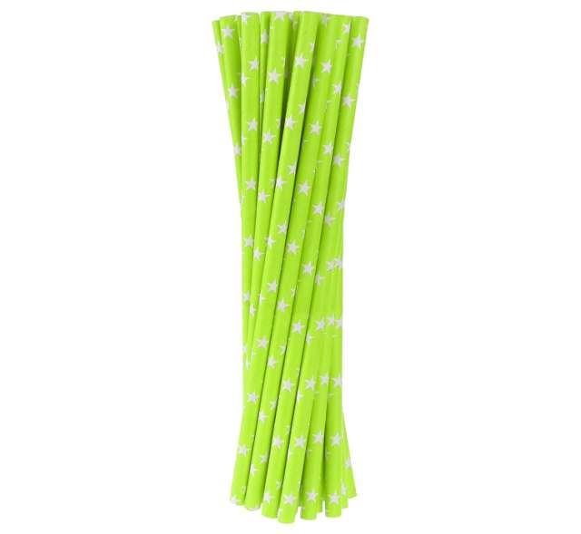 Słomki papierowe w gwiazdki, zielone, 20 cm, 24 szt