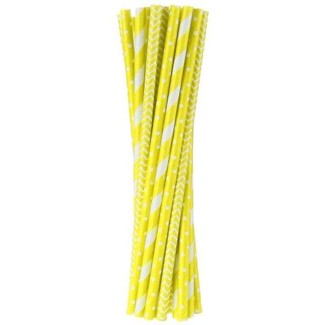 Słomki papierowe mix, żółte, 19,7 cm, 24 szt