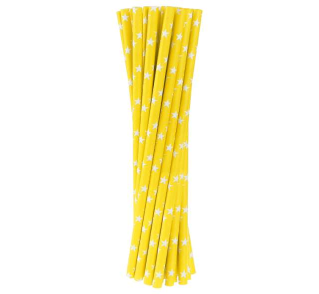 Słomki papierowe w gwiazdki, żółte, 20 cm, 24 szt