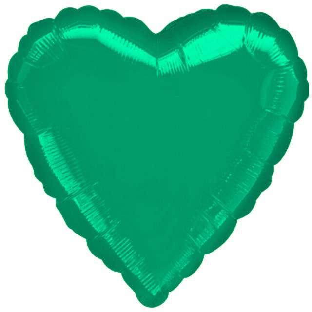 "Balon foliowy ""Serce"", zielone, AMSCAN, 18"" HRT"