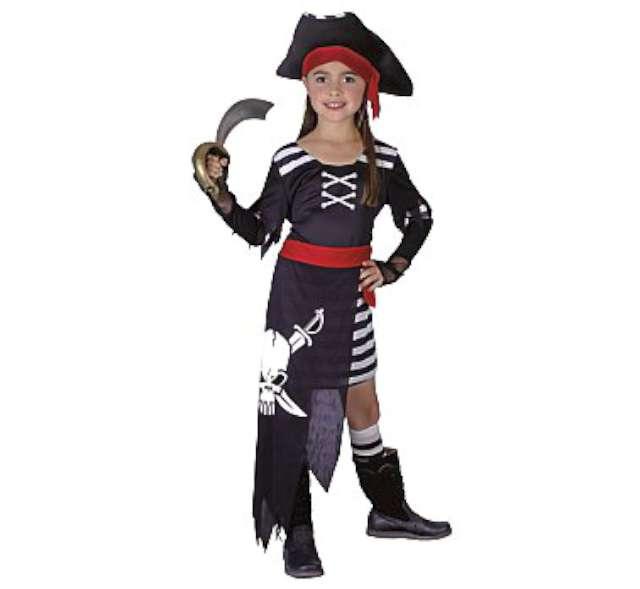 """_xx_Strój """"Piratka z czaszką"""" (sukienka z pasem i rekawkami, kapelusz), roz. 120/130"""