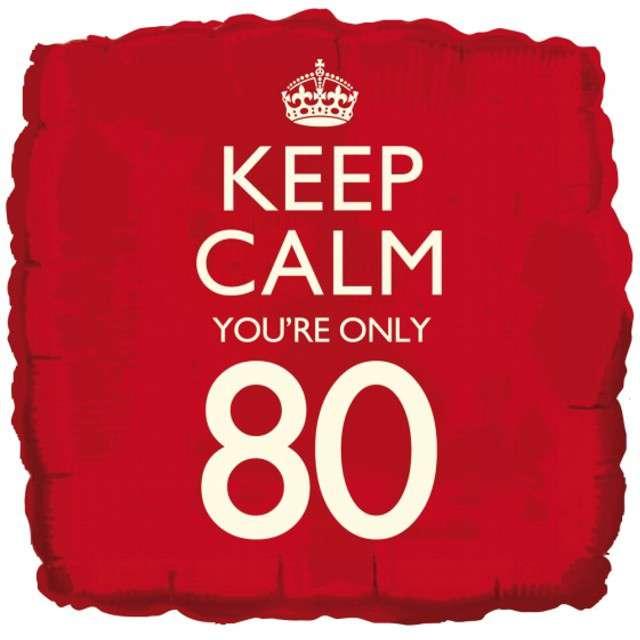 "Balon foliowy ""Keep Calm Your Only 80"", CREATIVEPARTY, 18"" SQR"