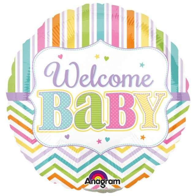 "Balon foliowy ""Welcome Baby"", AMSCAN, 9"" RND"