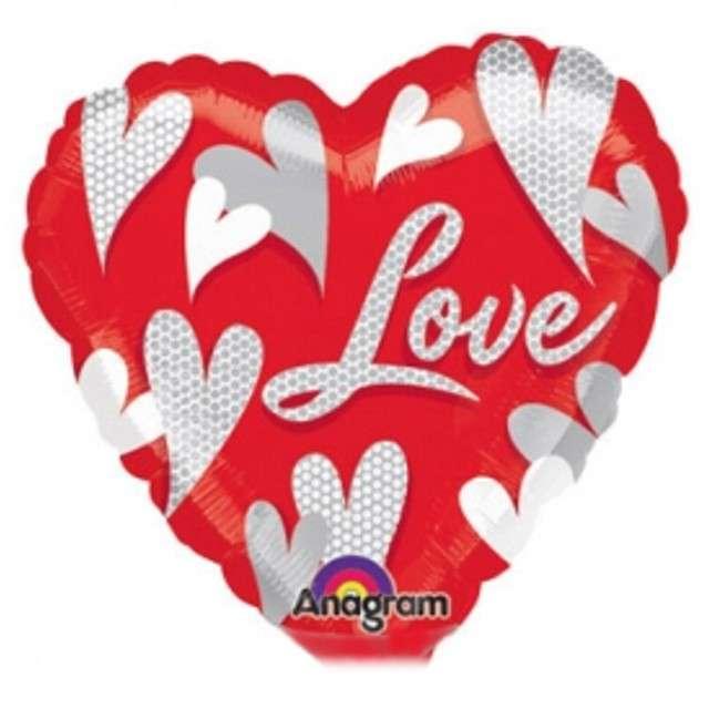 "Balon foliowy ""Serce Love"", AMSCAN, 9"""
