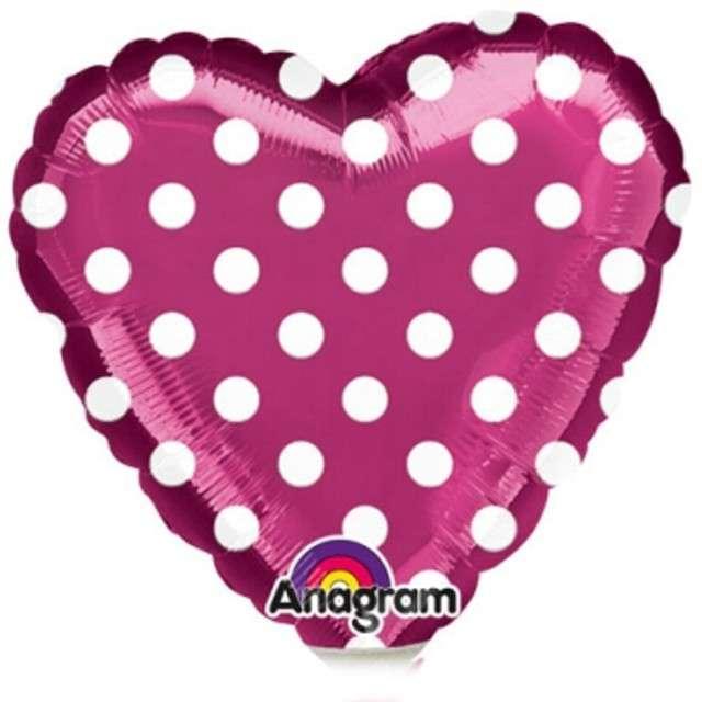 """Balon foliowy """"Serce w kropki"""", różowe, AMSCAN, 9"""" HRT"""