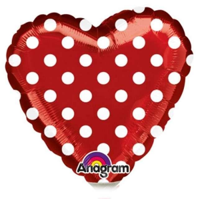 "Balon foliowy ""Serce w kropki"", czerwone, AMSCAN, 9"" HRT"