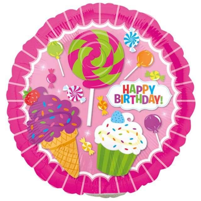 """Balon foliowy """"Happy Birthday SweetShop"""", AMSCAN, 9"""" SHP"""