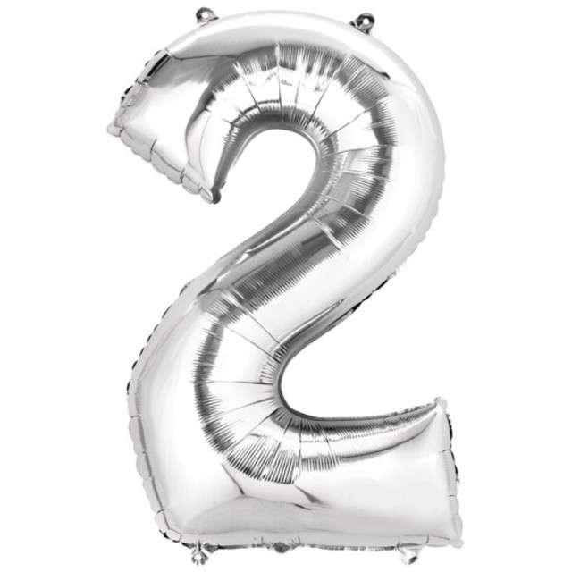 """Balon foliowy cyfra 2, 14"""", AMSCAN, srebrny"""