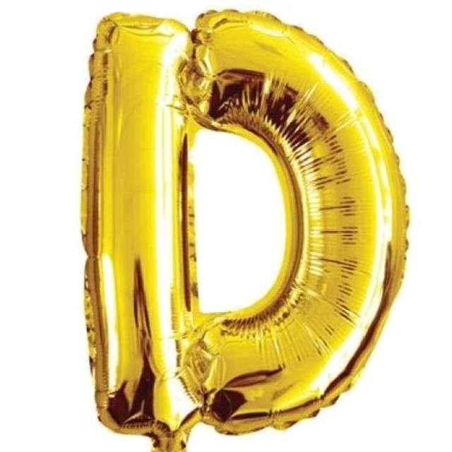 """Balon foliowy litera D, 16"""", OEM, złoty"""