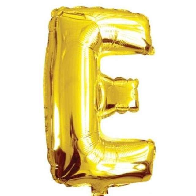 """Balon foliowy litera E, 16"""", OEM, złoty"""