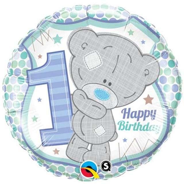 """Balon foliowy 18"""" """"Urodziny 1"""", Tiny Tatty, QUALATEX, 18"""" RND"""