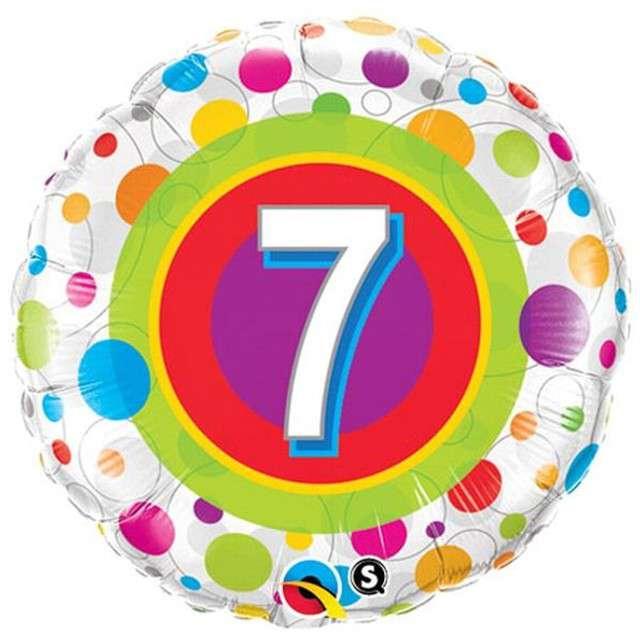 """Balon foliowy """"Urodziny  7"""", Colorful Dots, QUALATEX, 18"""" RND"""