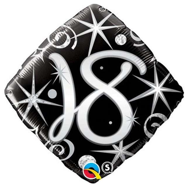 """Balon foliowy """"Urodziny 18 Elegant Black"""", QUALATEX, 18"""" RBS"""