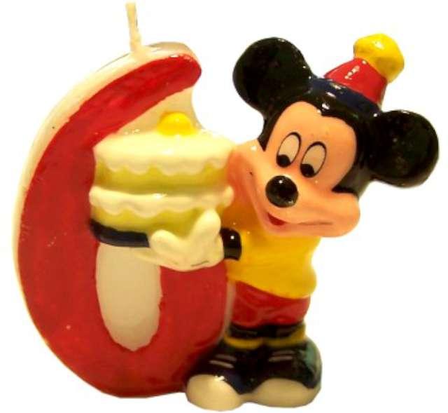 """Świeczka na tort """"Myszka Mickey Cyfra 6"""", Godan"""