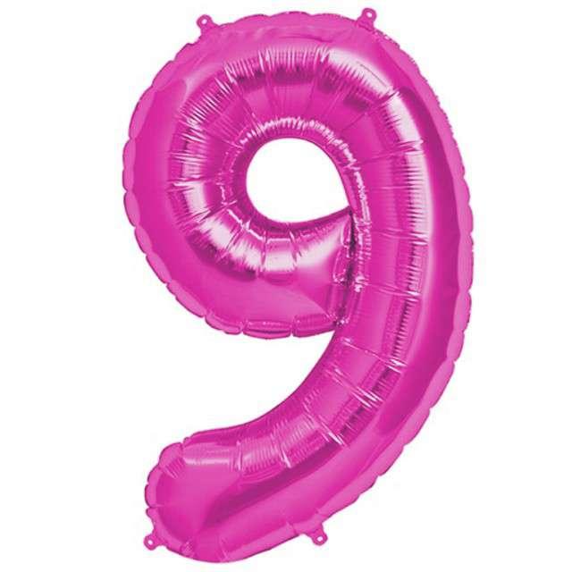 """Balon foliowy cyfra 9, 38"""", OEM, różowy"""