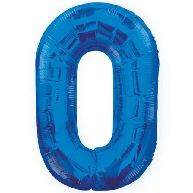 """Balon foliowy cyfra 0, niebieski, UNIQUE, 34"""""""
