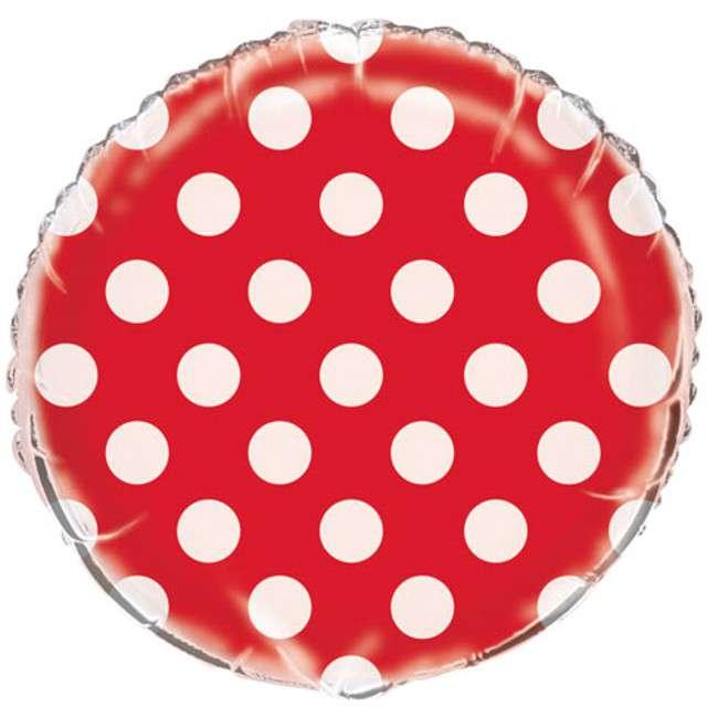"""Balon foliowy """"Okrągły w kropki"""", czerwony, UNIQUE, 18"""" RND"""