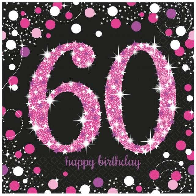"""Serwetki """"60 Urodziny - Sparkling Celebrations Pink"""", AMSCAN, 33 cm, 16 szt"""