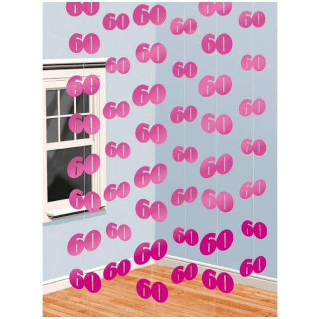 """Dekoracja wisząca, """"60"""", AMSCAN, różowa, 6 x 2,1 m"""