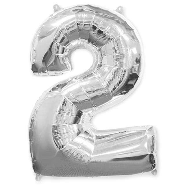 """Balon foliowy cyfra 2, srebrny, FLEXMETAL, 40"""""""