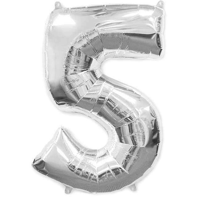 """Balon foliowy cyfra 5, srebrny, FLEXMETAL, 40"""""""