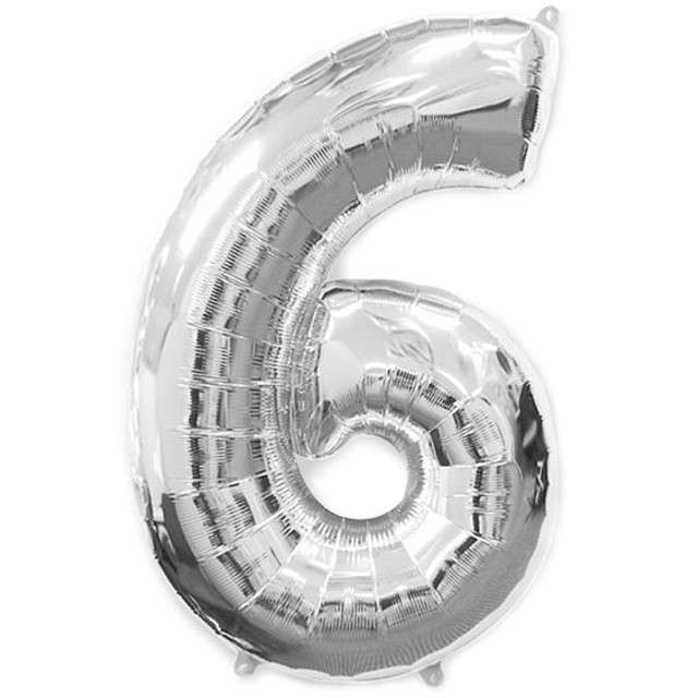 """Balon foliowy cyfra 6, srebrny, FLEXMETAL, 40"""""""