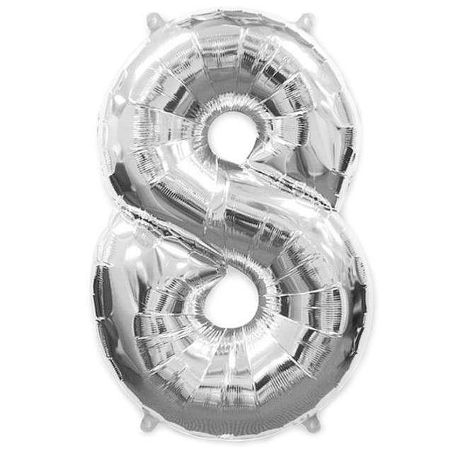 """Balon foliowy cyfra 8, srebrny, FLEXMETAL, 40"""""""