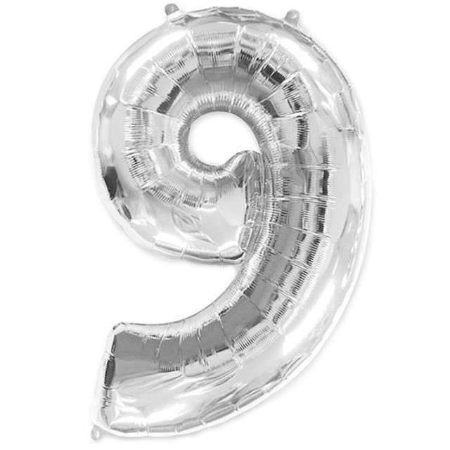 """Balon foliowy cyfra 9, srebrny, FLEXMETAL, 40"""""""