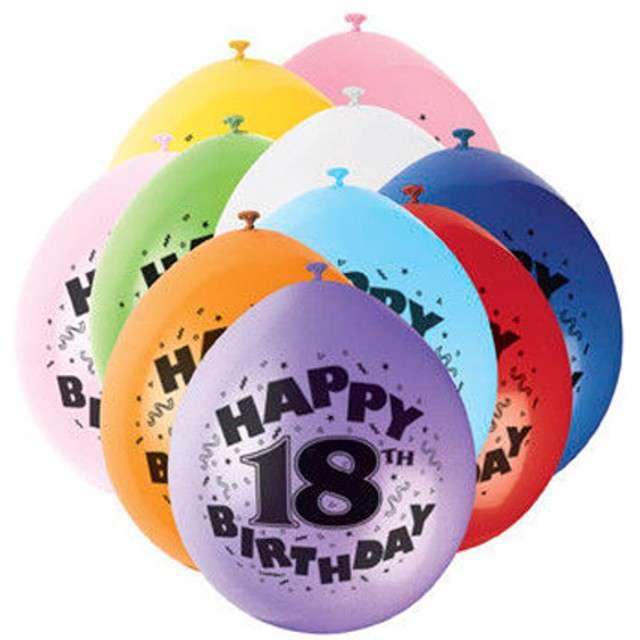 """Balony 9"""", """"Happy 18th Birthday"""", UNIQUE, pastel mix, 10 szt"""