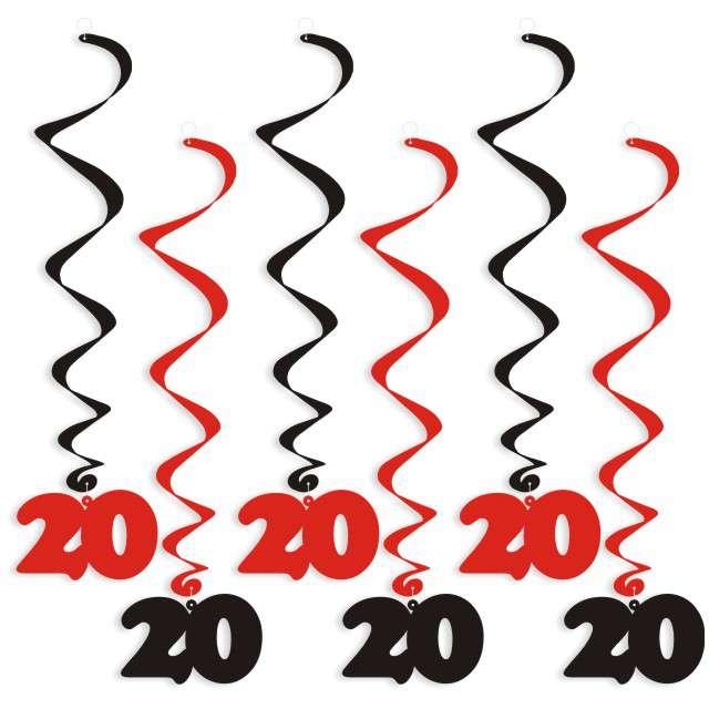 """Świderki wiszące """"Urodziny 20"""", czarno-czerwone, 6 szt"""