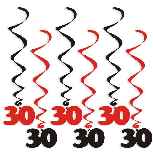 """Świderki wiszące """"Urodziny 30"""", czarno-czerwone, 6 szt"""