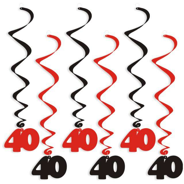 """Świderki wiszące """"Urodziny 40"""", czarno-czerwone, 6 szt"""