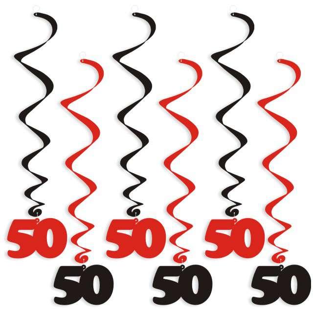 """Świderki wiszące """"Urodziny 50"""", czarno-czerwone, 6 szt"""