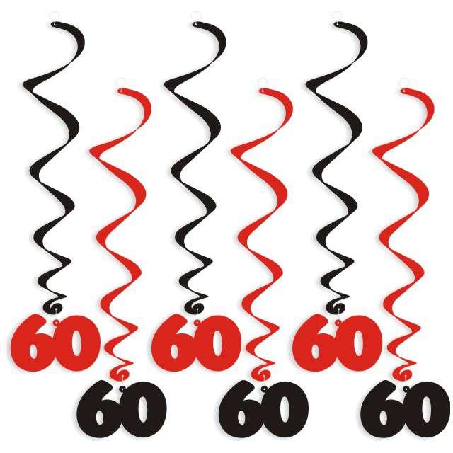 """Świderki wiszące """"Urodziny 60"""", czarno-czerwone, 6 szt"""