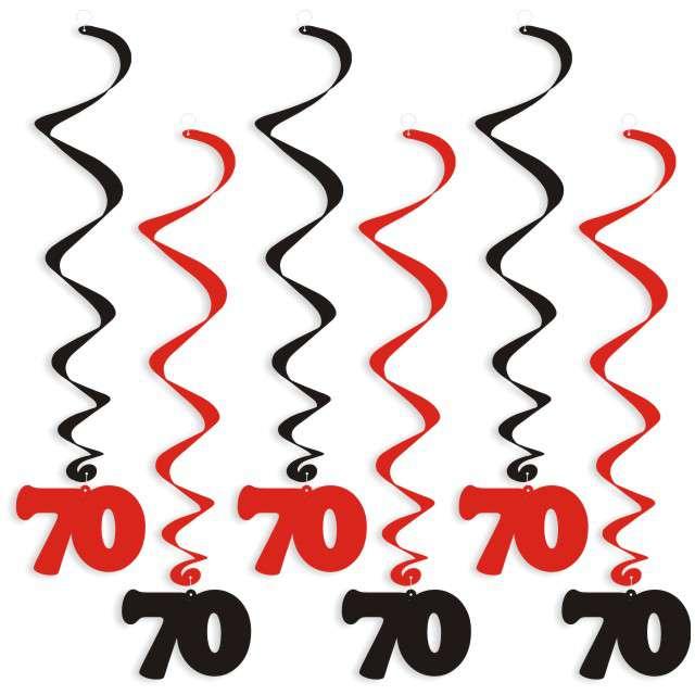 """Świderki wiszące """"Urodziny 70"""", czarno-czerwone, 6 szt"""