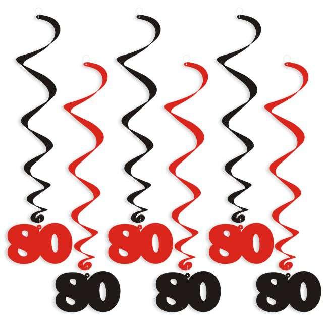 """Świderki wiszące """"Urodziny 80"""", czarno-czerwone, 6 szt"""
