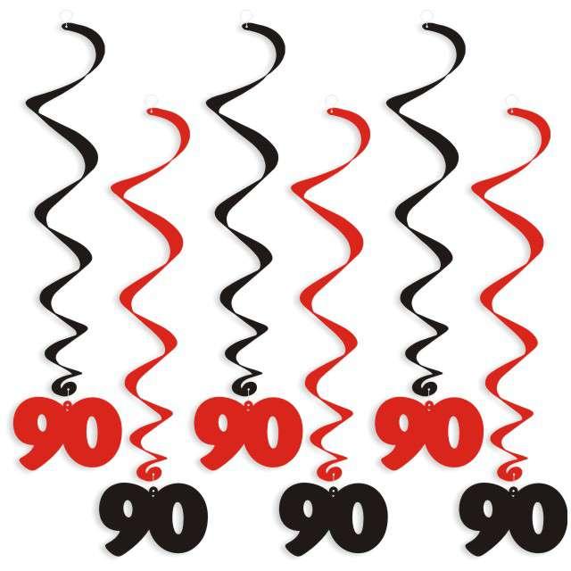 """Świderki wiszące """"Urodziny 90"""", czarno-czerwone, 6 szt"""