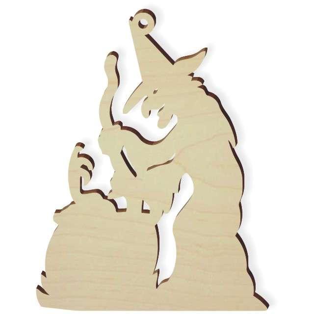 """Zawieszka drewniana """"Czarownica z kotłem"""", 71 x 92 mm, 10 szt"""