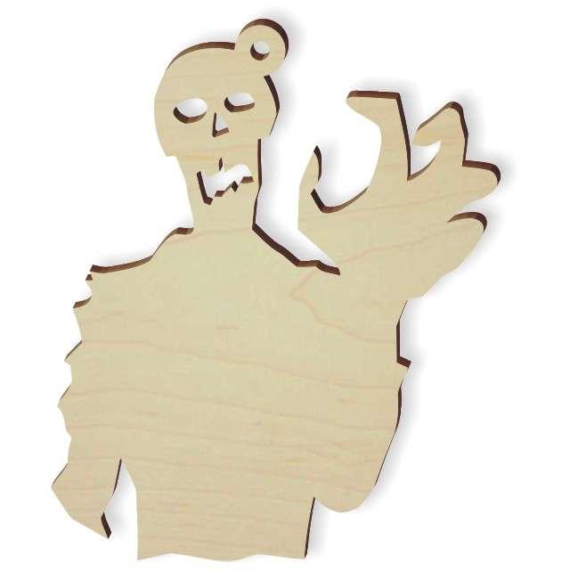 """Zawieszka drewniana """"Zombie grrrrr"""", 69 x 83 mm, 10 szt"""