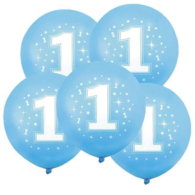 """Balony 12"""", """"Liczba  1 konfetti"""", niebieskie, 5 szt"""