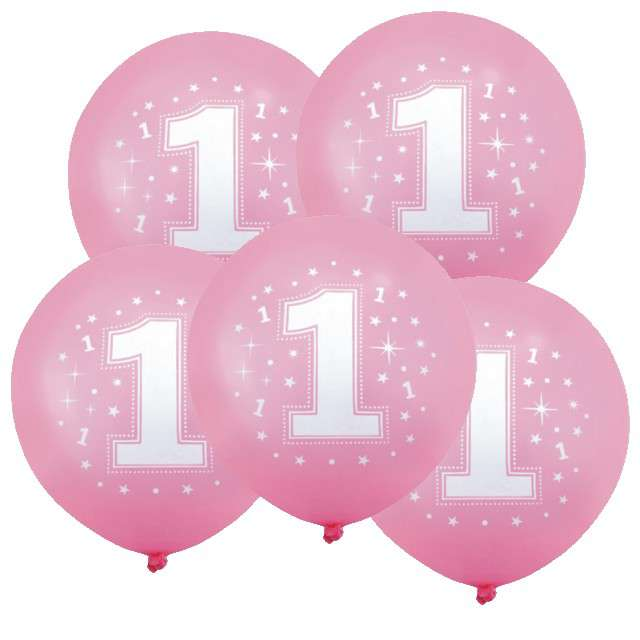 """Balony 12"""", """"Liczba  1 konfetti"""", różowe, 5 szt"""