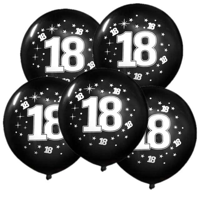 """Balony 12"""", """"Liczba 18 konfetti"""", czarne, 5 szt"""
