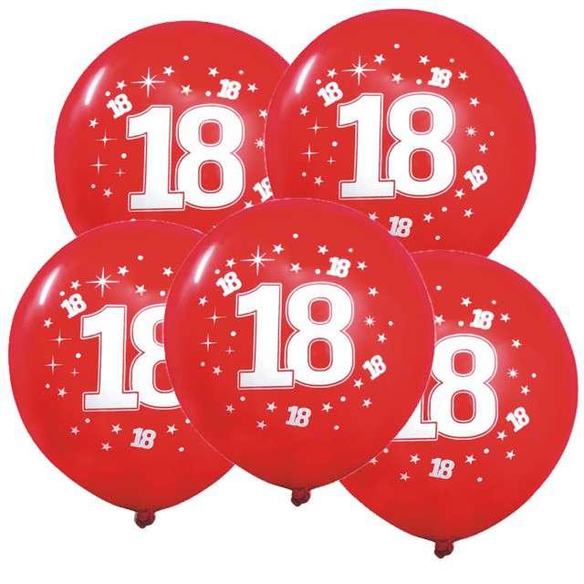 """Balony 12"""", """"Liczba 18 konfetti"""", czerwone, 5 szt"""
